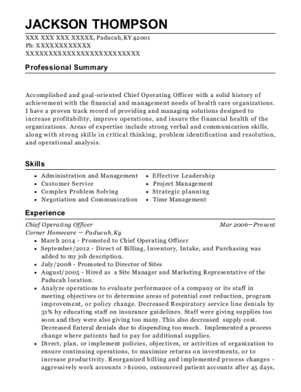 Chief Operating Officer resume sample Kentucky