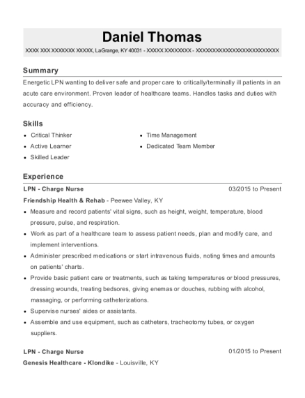 LPN Charge Nurse resume template Kentucky