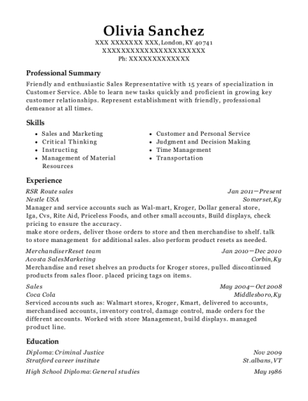 RSR Route sales resume template Kentucky