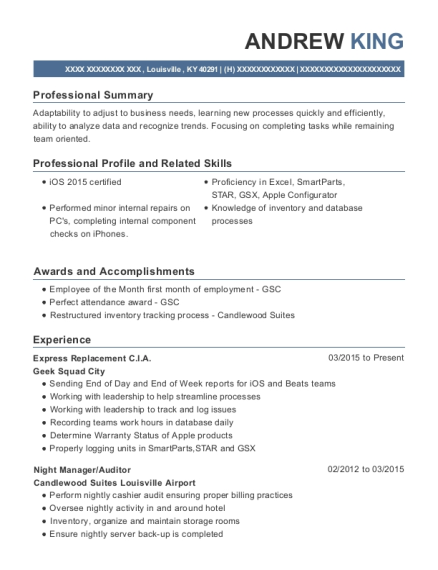 Geek Squad City Express Replacement Cia Resume Sample - Louisville