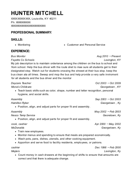 Bus Monitor resume template Kentucky