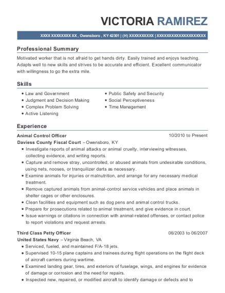 Animal Control Officer resume template Kentucky
