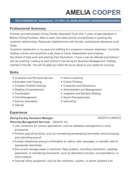 Dining Facility Assistant Manager resume example Kentucky