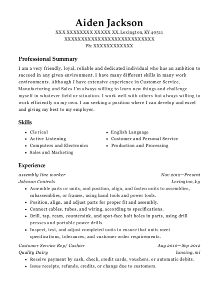 Assembly Line Worker resume format Kentucky