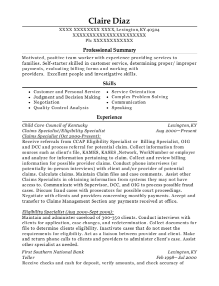 Claims Specialist resume sample Kentucky