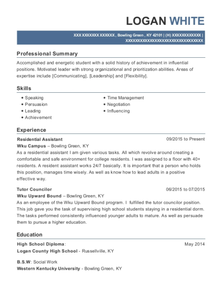 Residential Assistant resume template Kentucky