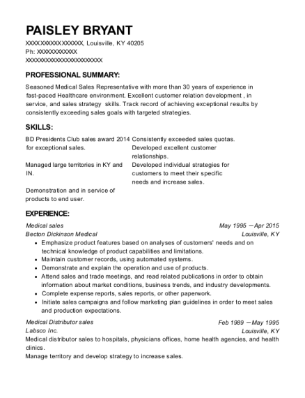 Medical sales resume example Kentucky