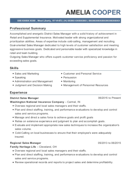 District Sales Manager resume sample Kentucky