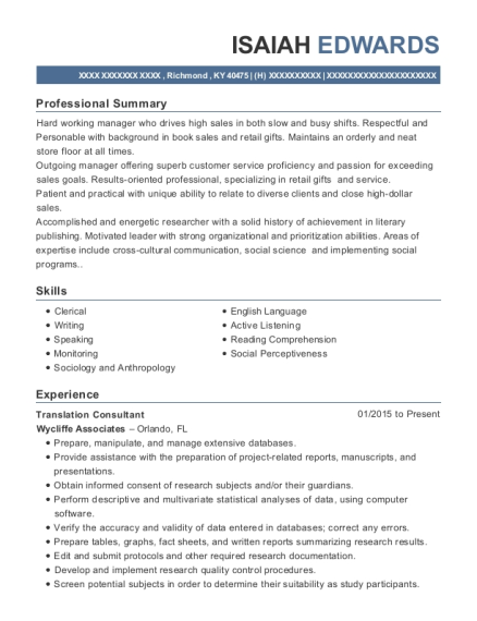 Translation Consultant resume template Kentucky