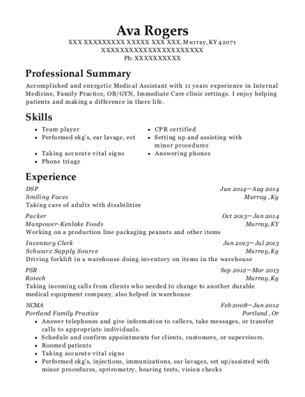 DSP resume format Kentucky