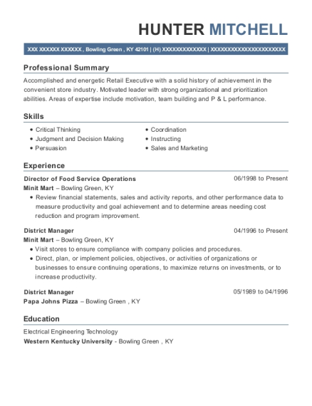 Director of Food Service Operations resume format Kentucky