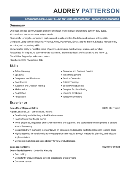 Sales Floor Representative resume example Kentucky
