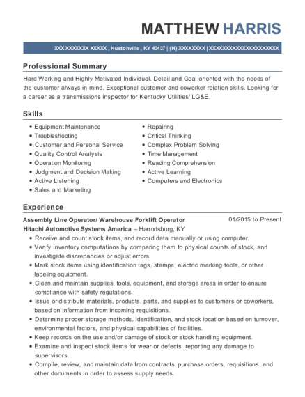 Assembly Line Operator resume format Kentucky