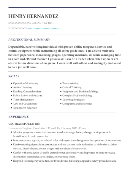 Locomotive Engineer resume example Kentucky