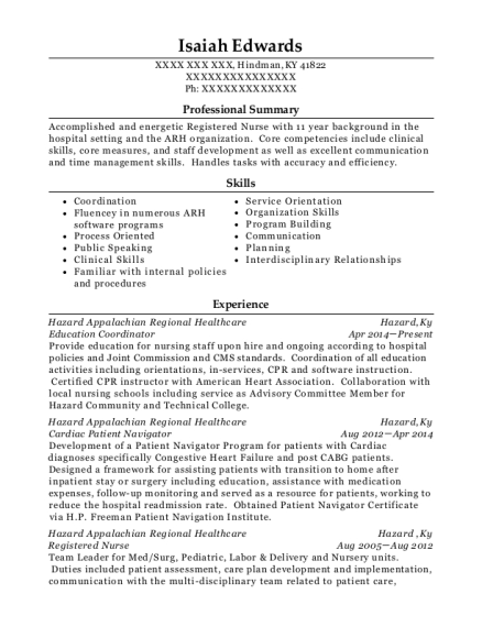 Education Coordinator resume example Kentucky