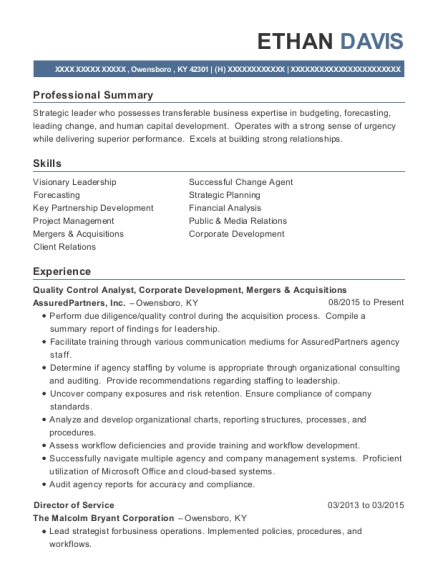 Quality Control Analyst resume template Kentucky