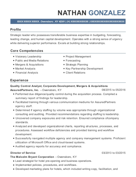 Quality Control Analyst resume example Kentucky