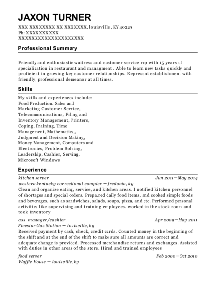 kitchen server resume format Kentucky