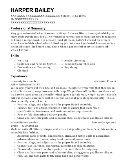 Assembly Line Worker resume sample Kentucky