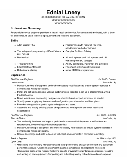 Field Service Engineer resume example Kentucky