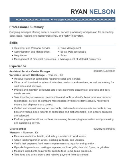 Assistant Service Center Manager resume sample Kentucky