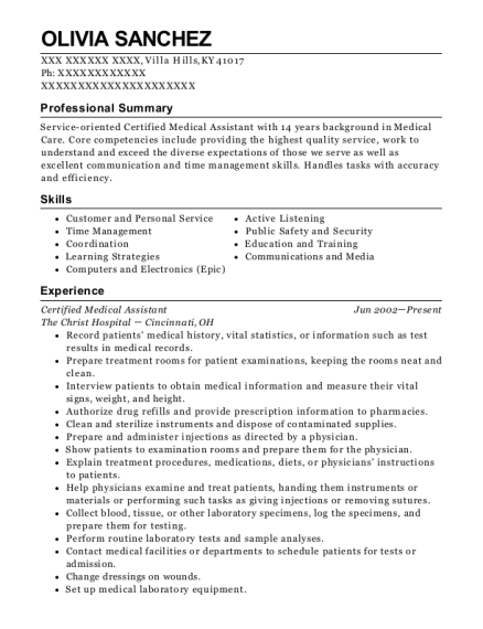 Certified Medical Assistant resume format Kentucky