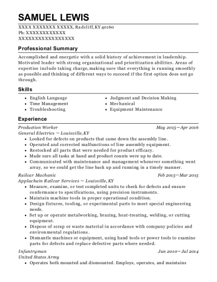Production Worker resume template Kentucky