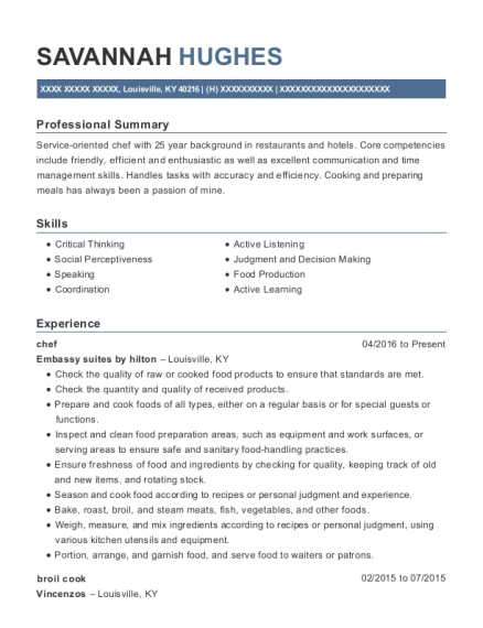Chef resume example Kentucky
