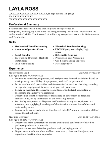 Maintenance Lead resume template Kentucky