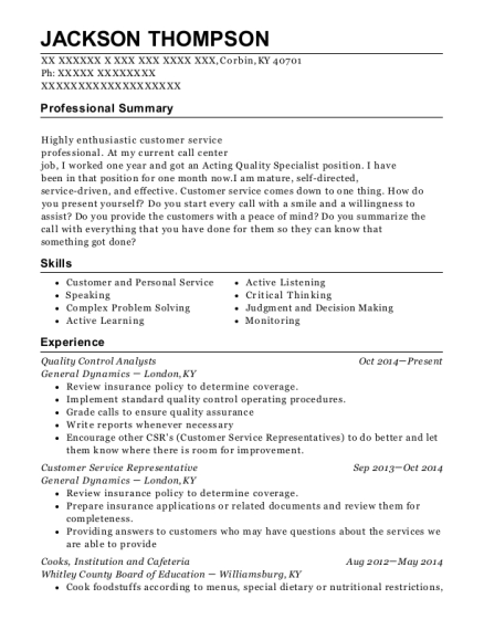 Quality Control Analysts resume template Kentucky