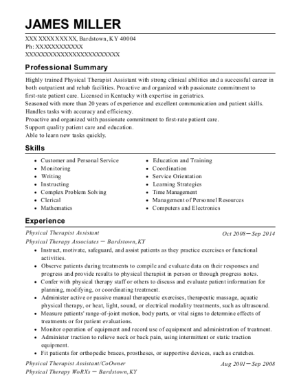 Physical Therapist Assistant resume format Kentucky