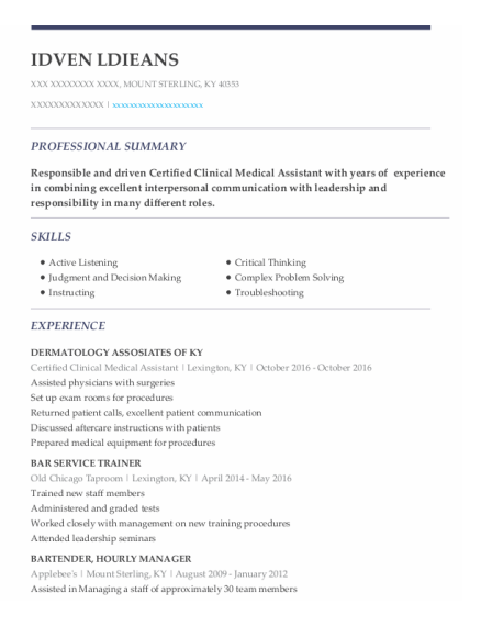 Certified Clinical Medical Assistant resume example Kentucky