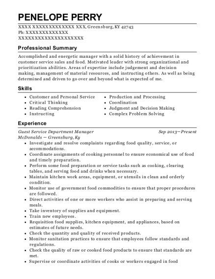 Guest Service Department Manager resume sample Kentucky