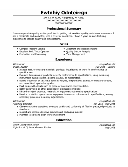 Quality Auditor resume example Kentucky