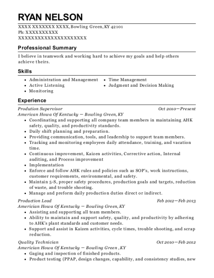 Prodution Supervisor resume sample Kentucky