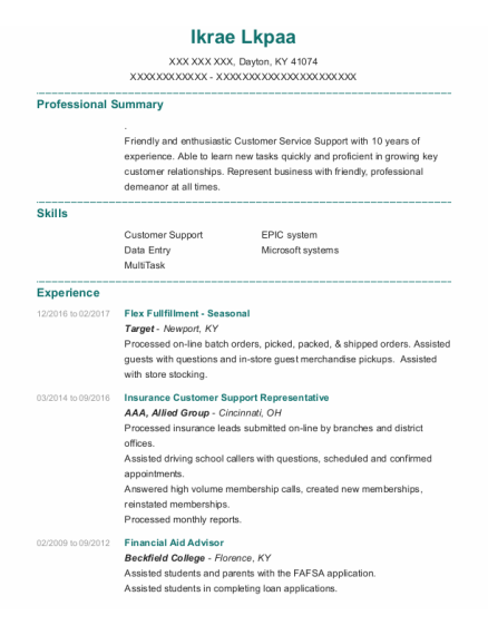 Financial Aid Advisor resume example Kentucky