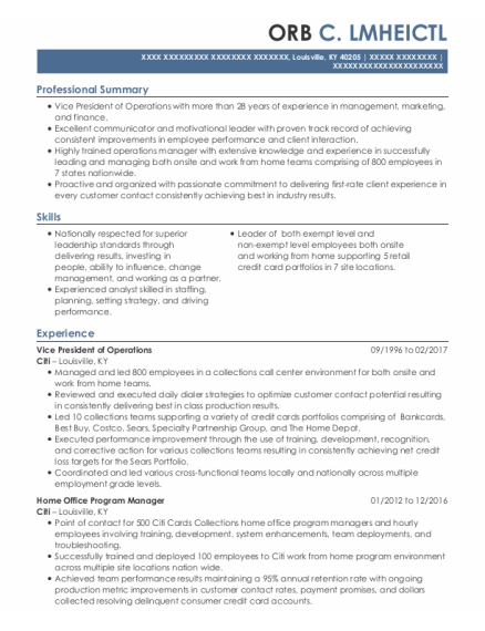 Vice President Of Operations resume sample Kentucky