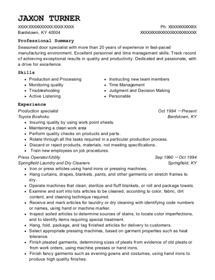Production specialist resume sample Kentucky