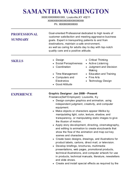Graphic Designer resume sample Kentucky