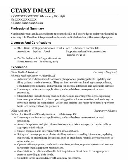 Office Assistant Ii resume format Kentucky