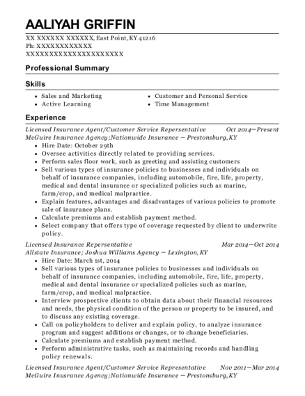 Licensed Insurance Agent resume format Kentucky