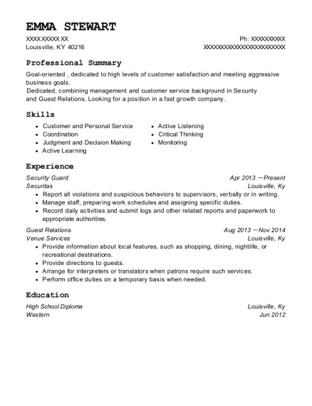Security Guard resume template Kentucky