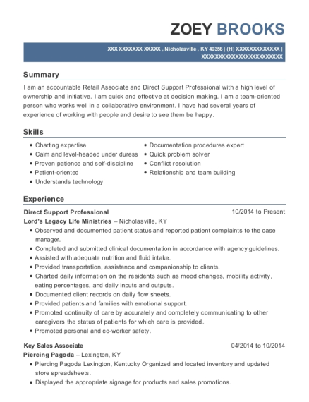 Direct Support Professional resume format Kentucky