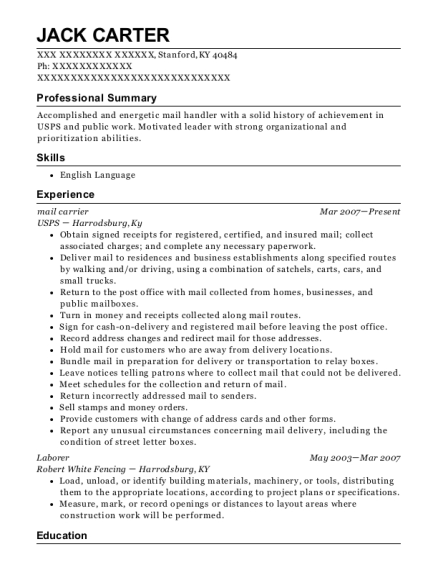 mail carrier resume example Kentucky
