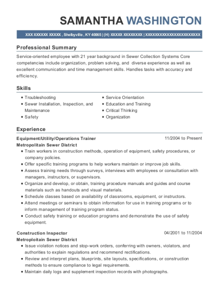 Equipment resume format Kentucky