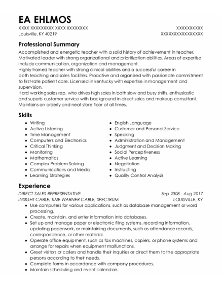 Direct Sales Representative resume template Kentucky