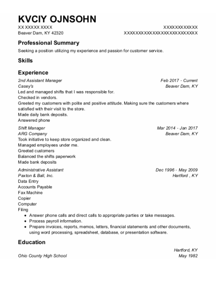 2Nd Assistant Manager resume format Kentucky