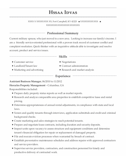 Assistant Business Manager resume sample Kentucky