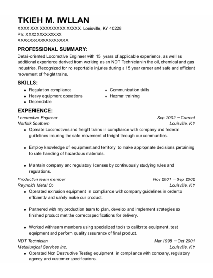 Locomotive Engineer resume format Kentucky
