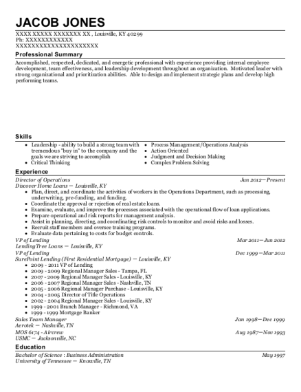 Director of Operations resume format Kentucky